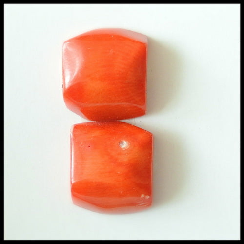 Natural Red Coral Gemstone Cabochon Pair 14x13x7mm,4.6g - MyGemGarden