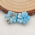 Carved Blue Apatite Crystal Flower Earrings Stone, 13x14x4mm, 1.7g