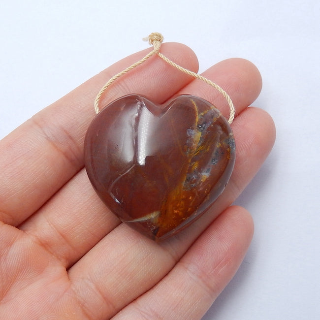 New design Indonesian Wood Fossil Drilled Heart Gemstone Pendant Bead, 33x33x15mm, 22.4g - MyGemGarden