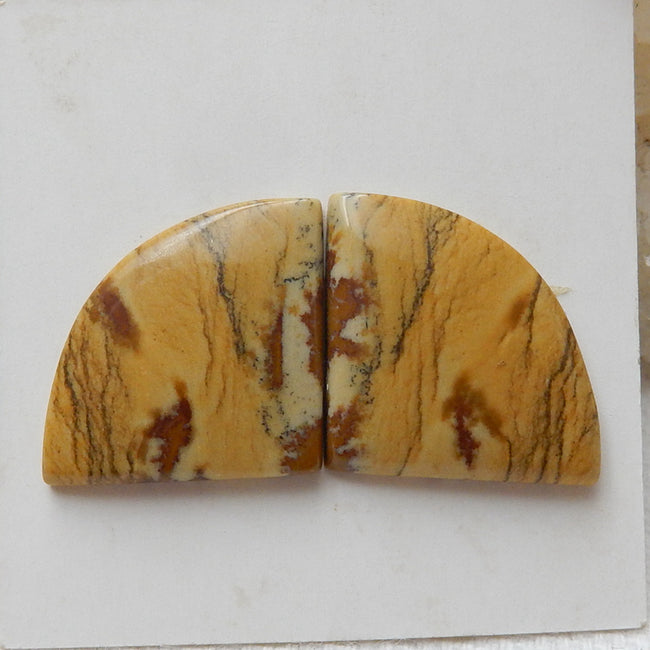 Natural Us Biggs Jasper Gemstone Cabochon Pair, 17x16x3mm, 3.6g - MyGemGarden