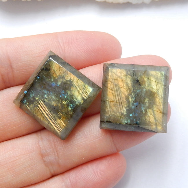 Natural Labradorite Square Gemstone Cabochon Pair, 20x6mm, 11.5g - MyGemGarden