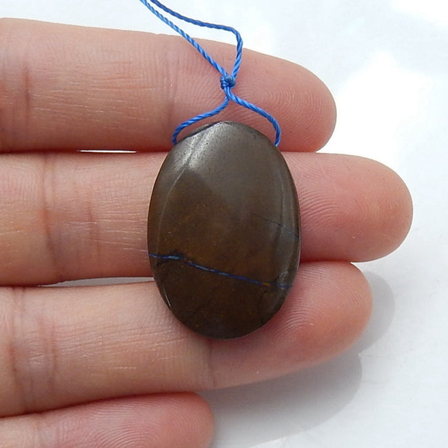 Natural Boulder opal Drilled Gemstone Pendant Bead, 21x18x5mm, 4.1g - MyGemGarden