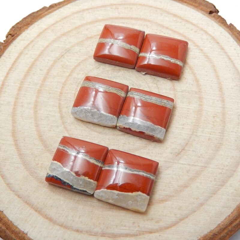 6 pcs Red River Jasper Square Gemstone Cabochons, 10x3mm, 4.4g - MyGemGarden