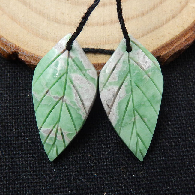 Variscite Carved Leaf Earrings Stone Pair, 26x13x3mm, 4g - MyGemGarden