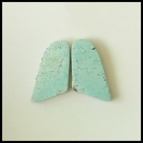 Natural Turquoise Gemstone Cabochon Pair 16x8x2mm,1.72g - MyGemGarden