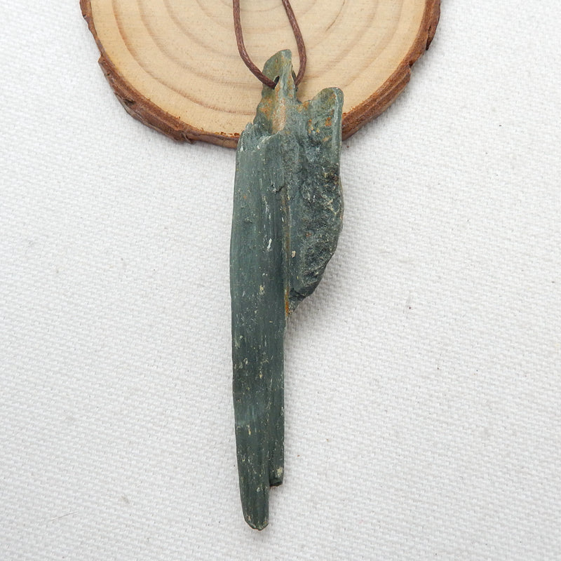 Raw Wood Fossil Gemstone Pendant, Necklace Pendant, 80x19x13mm, 15.8g - MyGemGarden