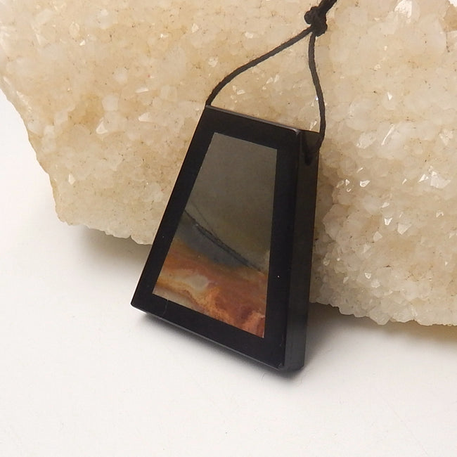 Natural Black Stone And Multi-Color Picasso jasper Drilled Trapezoid Glued Pendant Bead, 37x35x6mm, 15.8g - MyGemGarden