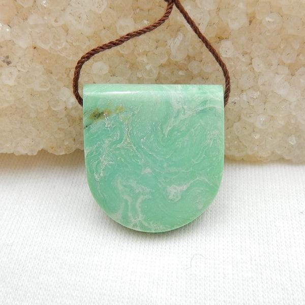 Natural Green Turquoise Side Drilled Pendant Stone, 23x22x8mm, 6.4g