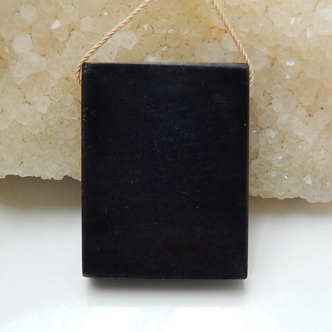 Natural Black Stone And Multi-Color Picasso jasper Drilled Rectangle Glued Pendant Bead, 35x27x6mm, 16g - MyGemGarden