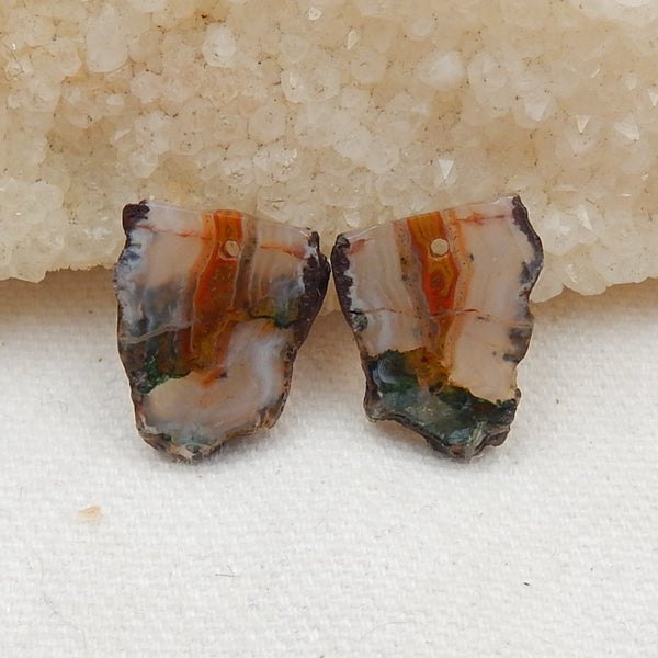 Nugget Agate Earrings Stone Pair, stone for earrings making, 17x15x2.5mm, 2.8g - MyGemGarden