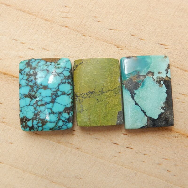 3 Pcs Natural Turquoise Rectangle Gemstone Cabochon, 20x15x5mm, 18x13x5mm,8g - MyGemGarden