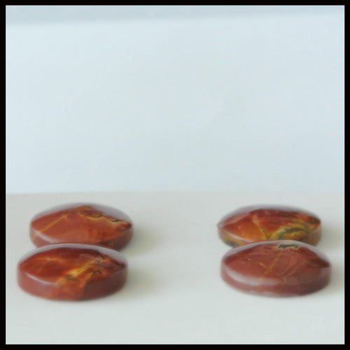 4pcs Natural Multi-Color Picasso Jasper Gemstone 15mm Round Cabochons, 15x15x4mm, 6.55g - MyGemGarden