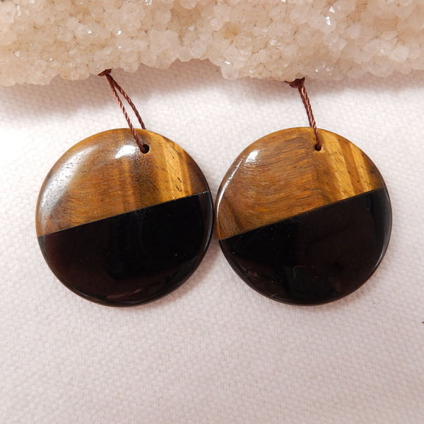 Obsidian And Tiger-Eye Glued Round Gemstone Earrings Stone Pair, 30x4mm, 12.2g - MyGemGarden