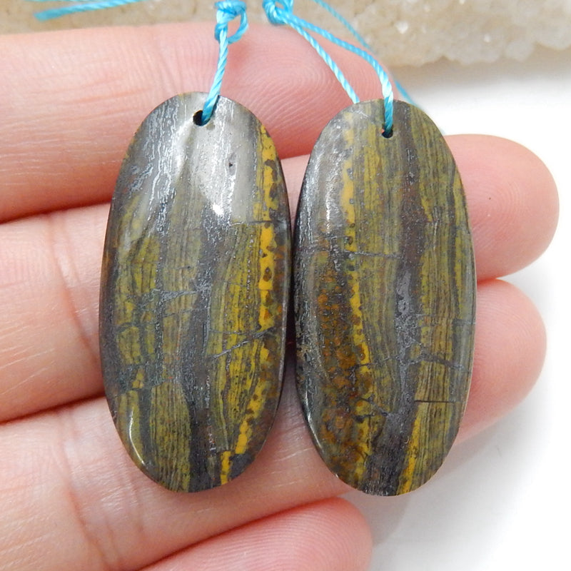 Natural Iron Tiger's Eye Oval Earrings Pair, stone for Earrings making, 32x15x5mm, 8.5g - MyGemGarden