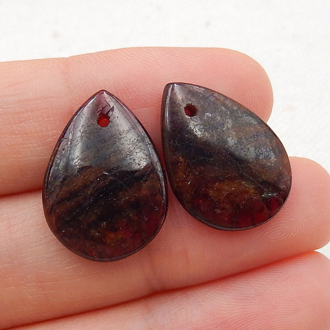 Teardrop Garnet Earrings Stone Pair, stone for earrings making, 18x14x3mm, 3.5g - MyGemGarden