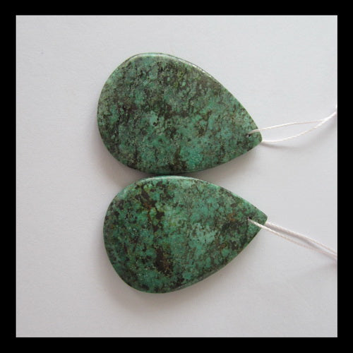 African turquoise Earrings Pair,37x27x5mm,13g - MyGemGarden