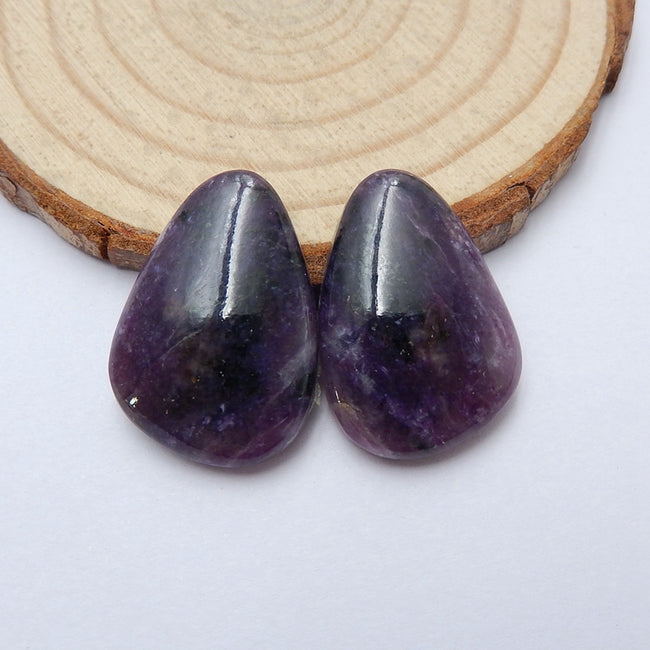 Natural Amethyst Gemstone Cabochon pair, 23x17x5mm, 6.5g - MyGemGarden