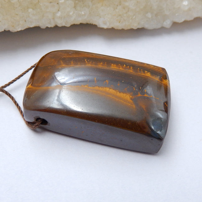 Natural Boulder opal Drilled Gemstone Pendant Bead, 35x23x12mm, 21.1g - MyGemGarden