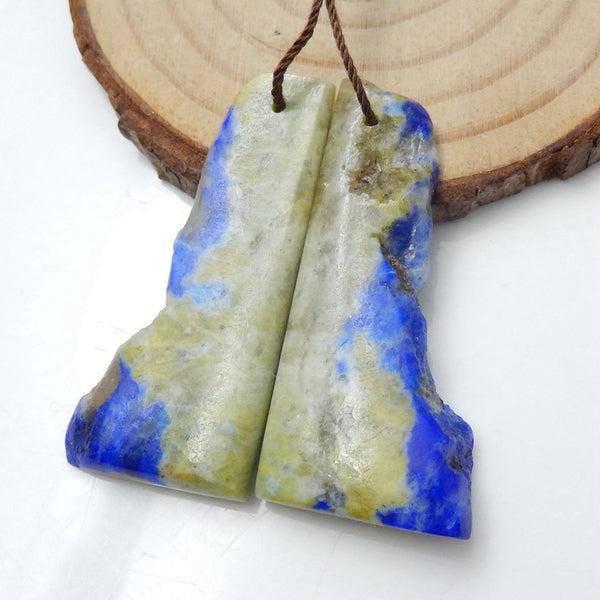 Nugget Lapis Lazuli Earrings Stone Pair, stone for earrings making, 39x18x5mm, 19.8g - MyGemGarden