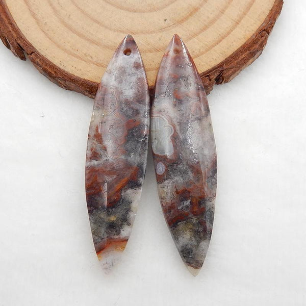 Natural Crazy Lace Agate Marquise Earrings Stone Pair, stone for earrings making, 49x13x4.5mm, 7.7g