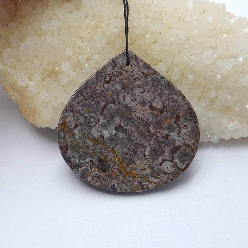 Natural Mushroom Jasper Gemstone Pendant Bead, 50x49x9mm, 29g - MyGemGarden