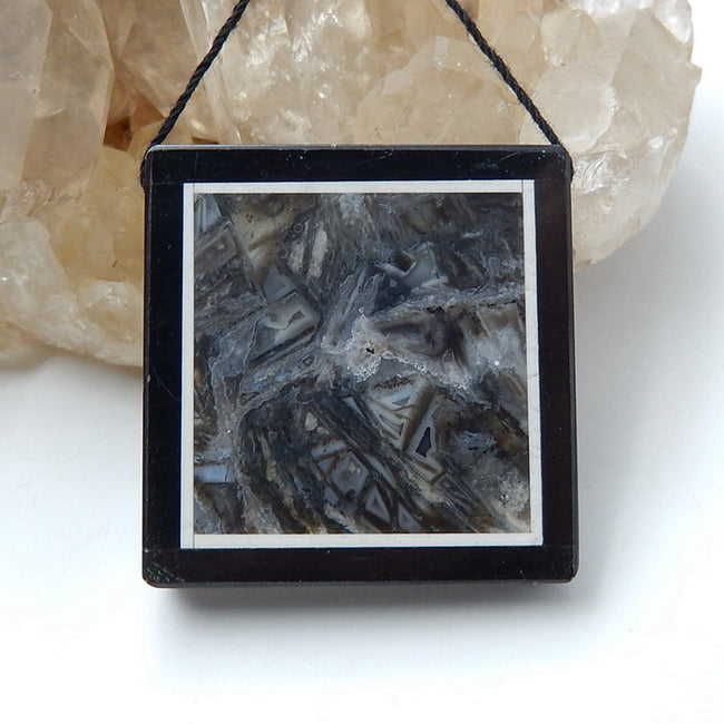 Natural Black Stone And Bamboo Agate Drilled Rectangle Glued Pendant Bead, 33x34x6mm, 16.2g - MyGemGarden
