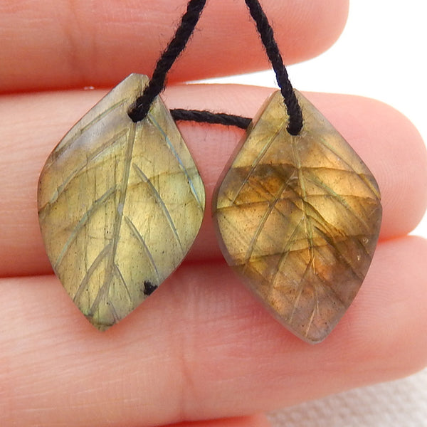 Labradorite Carved Leaf Earrings Stone Pair, 19x12x4mm, 2.7g - MyGemGarden