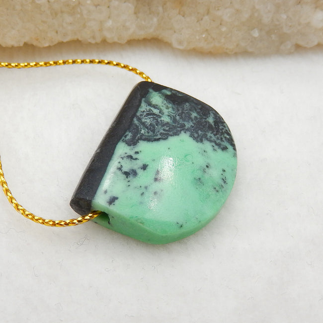 Green Turquoise Side Drilled Pendant Stone, 27x22x7mm, 6.1g