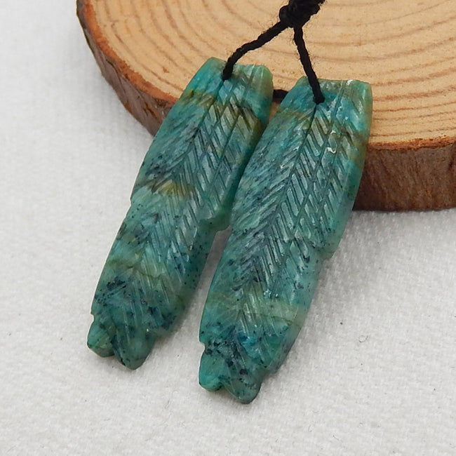 Chrysocolla Carved Feather Shaped Earrings Stone Pair, 36x12x4mm, 5.3g - MyGemGarden