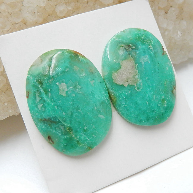 Natural Chrysocolla Gemstone Cabochon Pair, 24x13x4mm, 6.3g - MyGemGarden