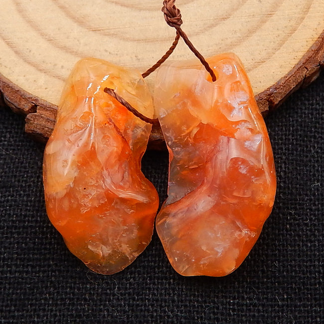 Nugget Orange Agate Earrings Stone Pair, stone for earrings making, 30x15x4mm, 28x16x7mm, 8.8g
