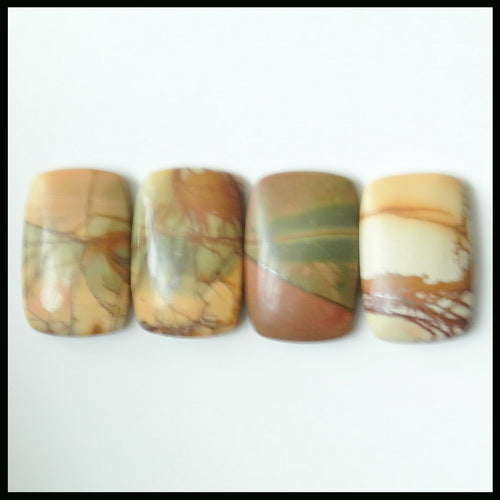 4PCS Natural Multi-Color Picasso Jasper Gemstone Cabochon 18x12x4mm,6.35g - MyGemGarden