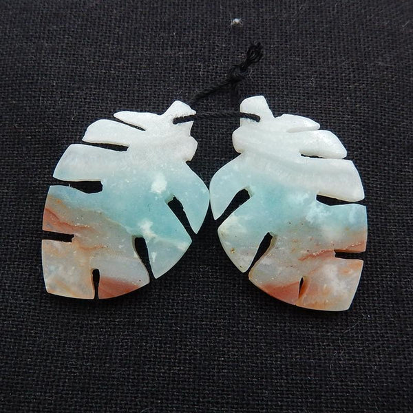 Amazonite Carved Leaf Earrings Stone Pair, 36x24x5mm, 10.7g