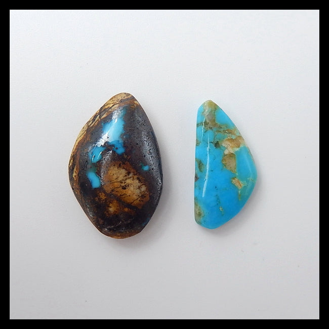 2 Pcs High quality Aricona?Turquoise  Cabochons,22x15x6mm,20x10x4mm,3.9g - MyGemGarden