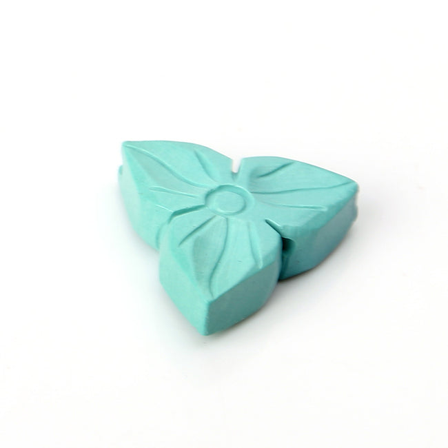 Turquoise Carved Flower Triangle Gemstone Pendant Stone, 16x5mm, 1.7g