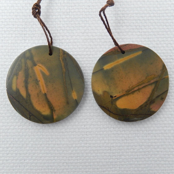 Chrysocolla, Shell, Muticolor Picasso Jasper Glued  Earrings Pair, 33x3mm, 6.9g - MyGemGarden