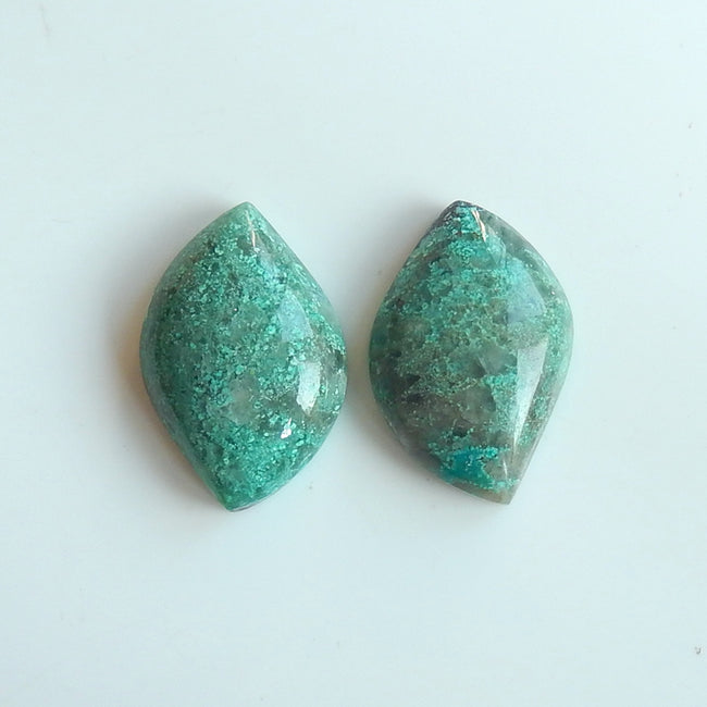 Natural Chrysocolla Marquise Gemstone Cabochon Pair, 33x22x9mm, 17.7g - MyGemGarden
