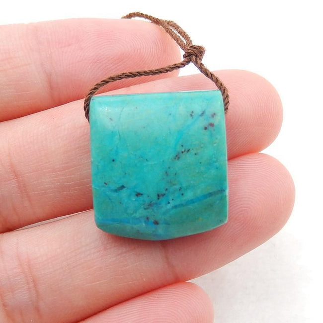 Chrysocolla Side Drilled Pendant Stone, 19x17x9mm, 5.3g