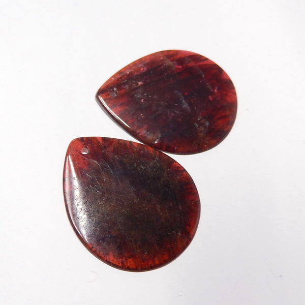 Teardrop Garnet Earrings Stone Pair, stone for earrings making, 23x19x4mm, 7.6g - MyGemGarden