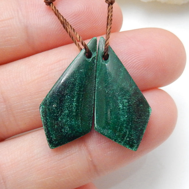 Natural Malachite Earrings Pair, stone for Earrings making, 23x11x4mm, 4.2g - MyGemGarden