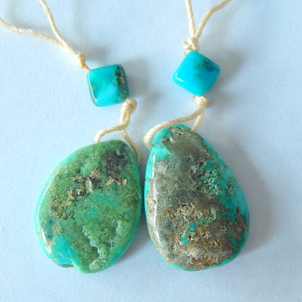 Natural Turquoise Gemstone Earrings Pair,22x15x5mm,20x15x4mm,6x4mm,4.9g - MyGemGarden