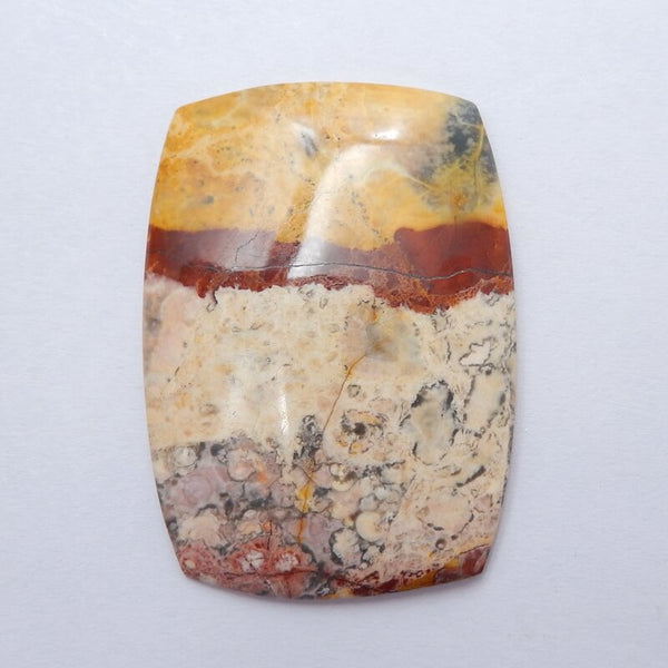 Natural Orbicular Rhyolite Birds Eye Jasper Gemstone Cabochon, 44x32x5mm, 11.2g - MyGemGarden