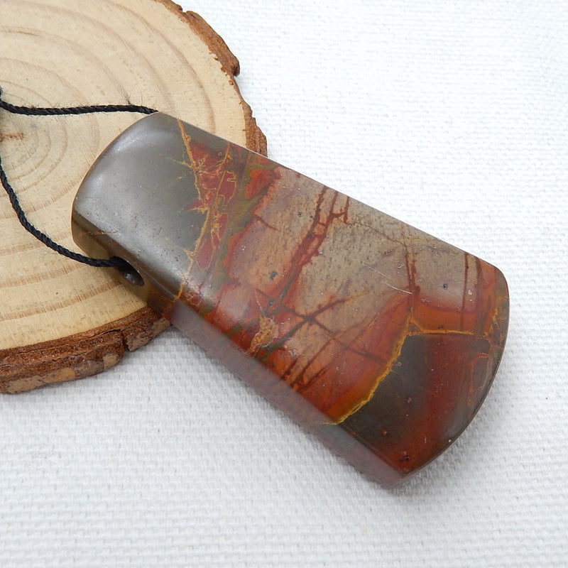 Natural Multi-Color Picasso jasper Drilled Pendant Bead, 51x29x13mm, 32.2g - MyGemGarden