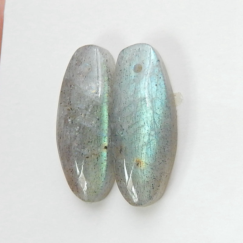 Natural Labradorite Drilled oval Earrings pair, 21x8x4mm, 3.6g - MyGemGarden