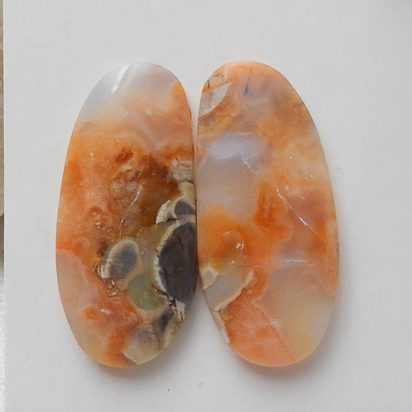 Natural Mushroom Jasper Gemstone Cabochon Pair, 28x13x4mm, 5g - MyGemGarden