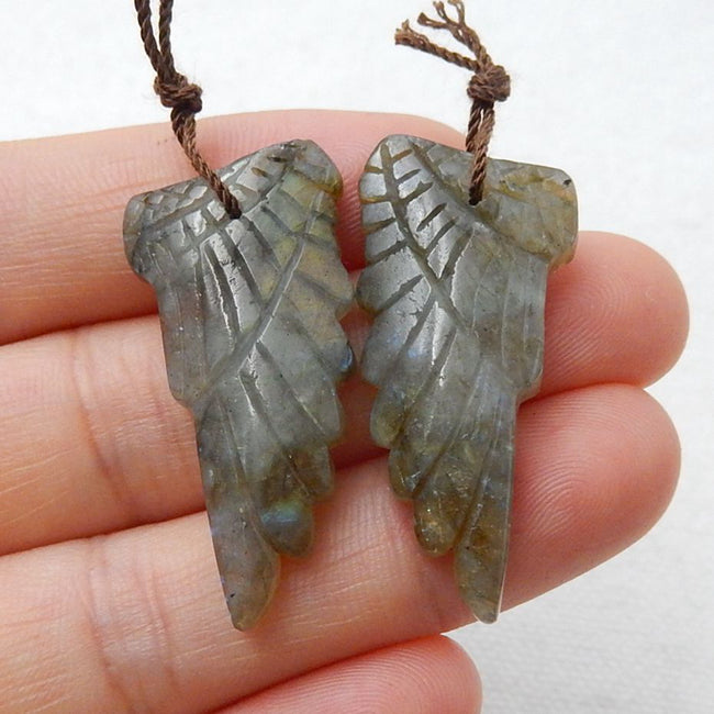 Labradorite Carved Wings Earrings Stone Pair, 33x16x5mm, 7.5g - MyGemGarden