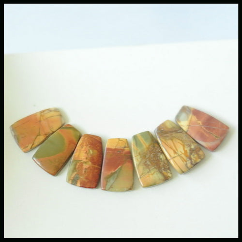 7PCS Natural Multi-Color Picasso Jasper Gemstone Cabochon 20x12x4mm,12.5g - MyGemGarden