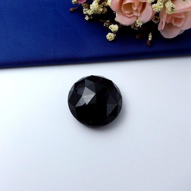 Natural Obsidian faceted Gemstone Cabochon 32x15mm,16.2g - MyGemGarden