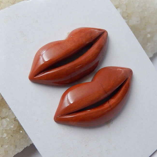 2 Pcs Carved Red River Jasper Gemstone Lips Cabochon, 32x15x6mm, 8g - MyGemGarden