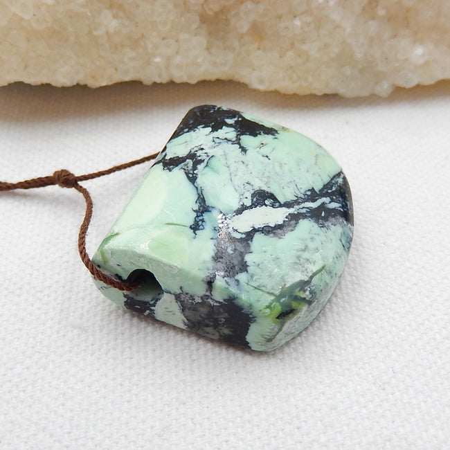 Green Turquoise Side Drilled Pendant Stone, 31x28x13mm, 18.7g